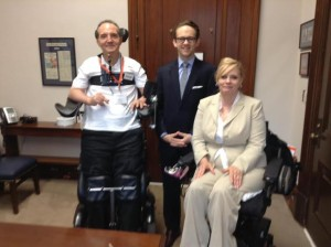 Meeting with Senator Toomey's Staff Member Brad Grantz along with Madonna Long, fellow advocate for United Spinal Assn. — with Michael Pellicano.