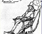 Drawing of King Phillip II and his custom built wheelchair.