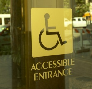 Sign that reads accessible entrance.